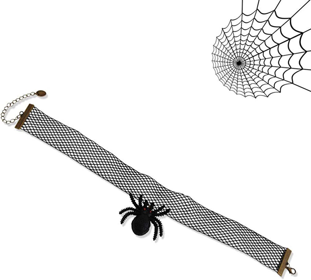 Amosfun Halloween Choker spinne Halskette Spitze Choker Halloween kost/üm zubeh/ör