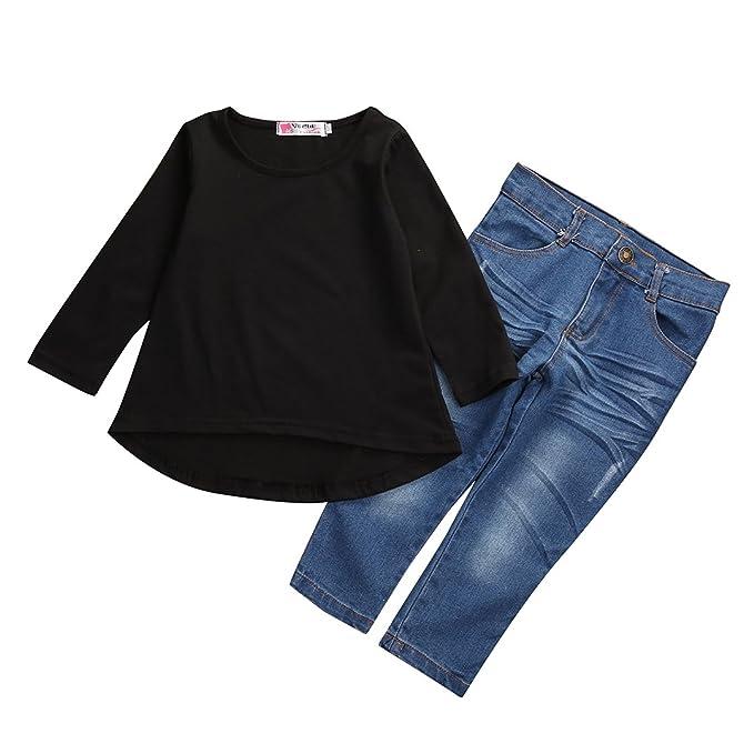 runi mo Niña pequeña, Negra, Larga, Camiseta Superior + ...
