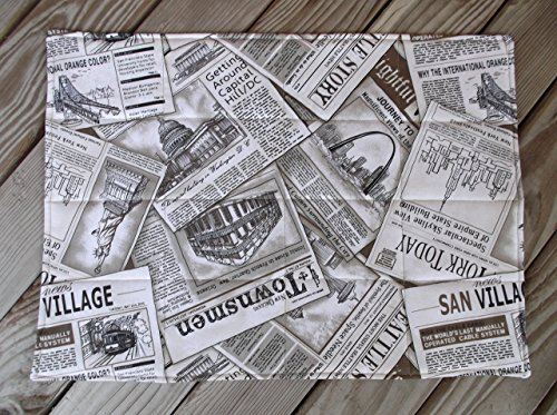 Read All About It Sepia Print Newspaper Quilted Fabric Placemats set of 8