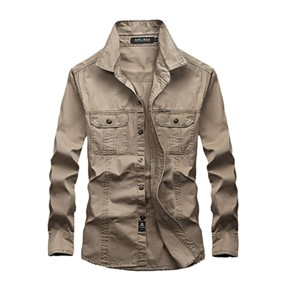 HK.YOL Military Army Green Casual Shirt 100/% Cotton Long Sleeves Shirts