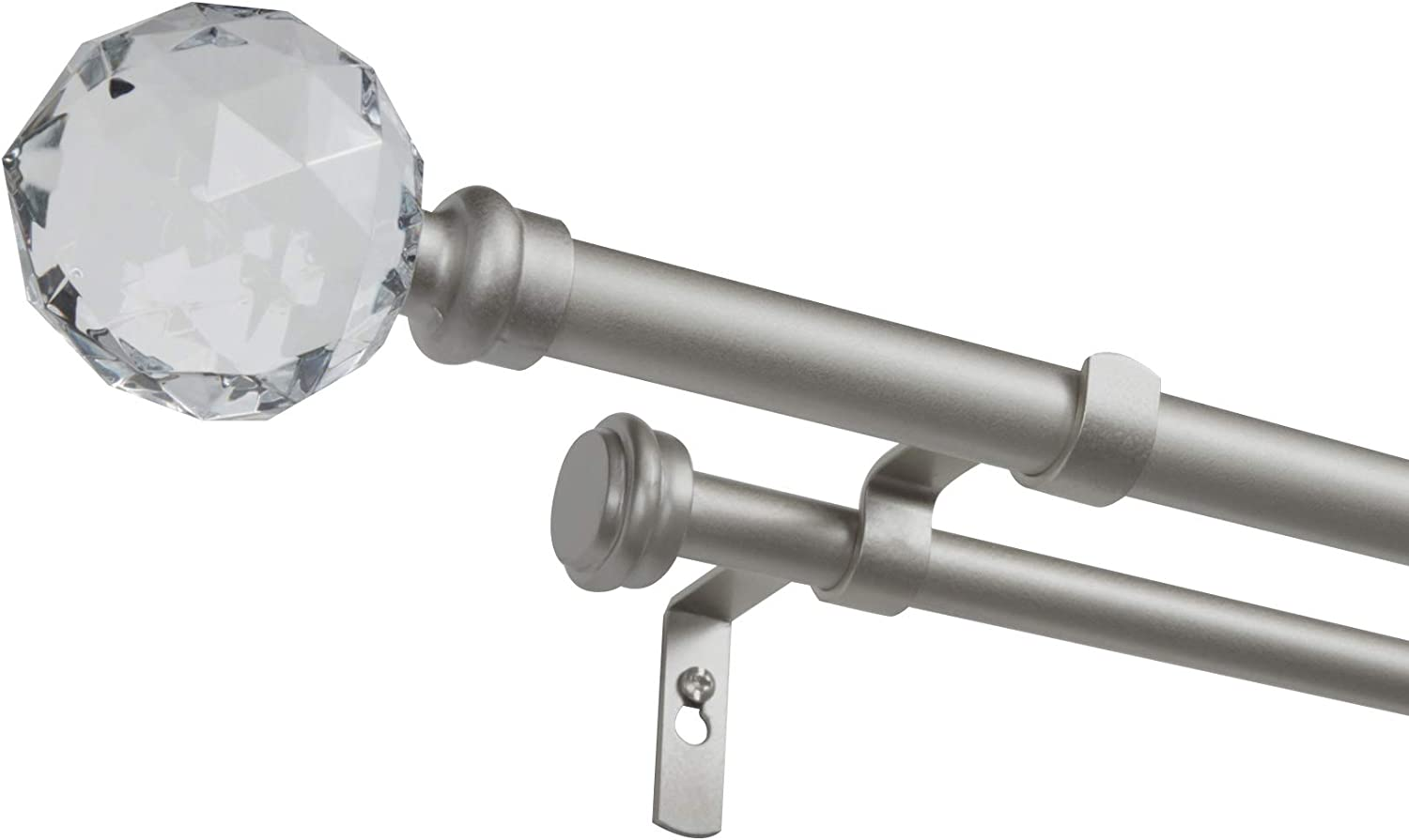 """Exclusive Home Curtains Crystal Ball Double Curtain Rod and Finial Set, 36""""-72"""", Matte Silver"""