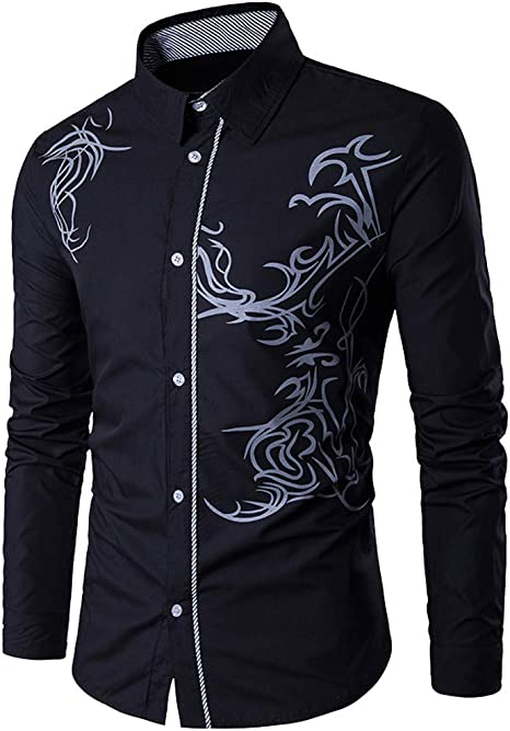 LuckyGirls Camisas Formales Blazers de Hombre Manga Larga Negocio Moda Estampado de Dragón Camisetas Casual Entallada Remeras de Trajes: Amazon.es: Deportes y aire libre