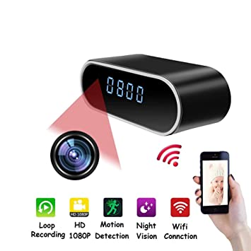 YMXLJJ WiFi Escritorio Reloj Mini cámara 1080P HD IP P2P DVR cámara no luz Night Vision Deportes Inicio Seguridad Apoyo iOS/Android/PC/Mac: Amazon.es: ...