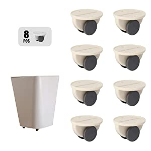 Universal Adhesive Casters,Sticky Wheels,Self Paste Pulley,Mini Glue Plastic Rollers,for Furniture,Storage Box,Carton,Container,Bin,Portable/Washable/Moving/Non Swivel/No Drilling/Easy Install(8 Pcs)
