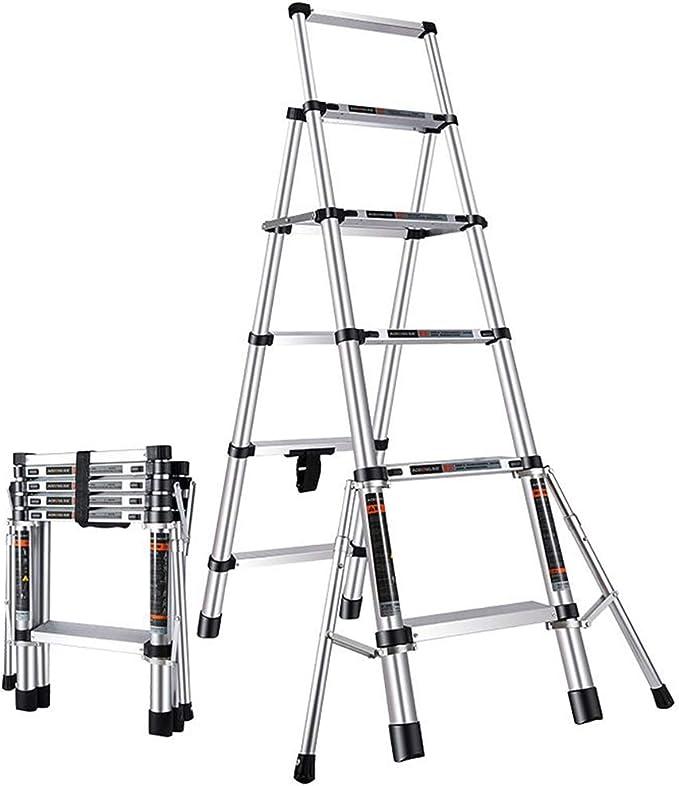 Escalera telescópica Hogar Aleación de Aluminio Escalera Plegable de 5 Pasos Escalera Multifuncional de elevación: Amazon.es: Hogar