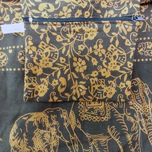 Handgefertigte Hippie-Umhängetasche/Hobo-Tasche/Ethno-Tasche für Frauen, Thai Yam, Elefantenmuster, von mittlerer Größe Braun - Braun