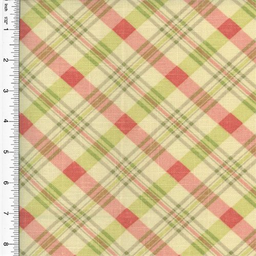Designer Cotton Pink/Green Chit Chat Plaid Print Home Decorating Fabric, Fabric By the ()