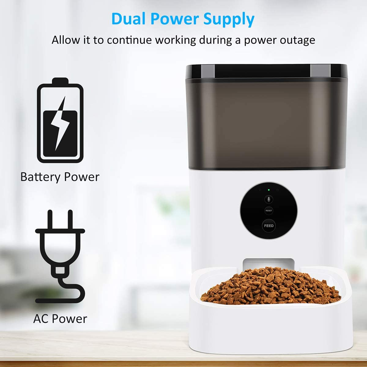 Kitchen & Dining : TTPet Automatic Cat Feeder with App Control, Timed Dog Food Dispenser, 4L Capacity, Bluetooth Enabled, Portion Control, Voice Recording, Timer Programmable up to 8 Meals a Day :