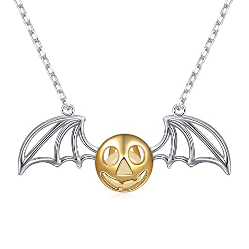 a3b460c57baf8e 925 Sterling Silver Bat Pumpkin Luminous Beads Glow Pendant Necklace, 16  inches to 18 inches