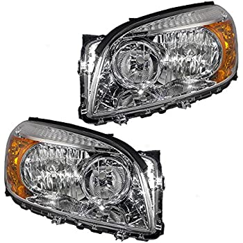 Driver and Passenger Headlights Headlamps with Chrome Bezels Replacement for Toyota SUV 8117042331 8113042331
