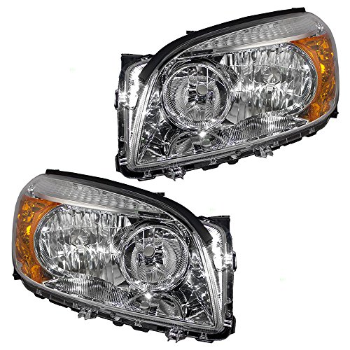 Headlights Headlamps with Chrome Bezels Driver and Passenger Replacements for 06-08 Toyota RAV4 SUV 8117042331 8113042331 ()