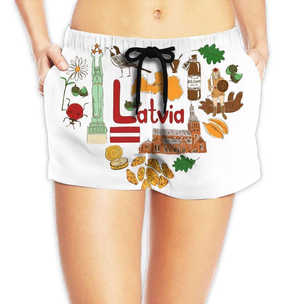 Travel to Latvia Women Fashion Sexy Quick Dry Lightweight Hot Pants Waist Beach Shorts Swimming Trunks