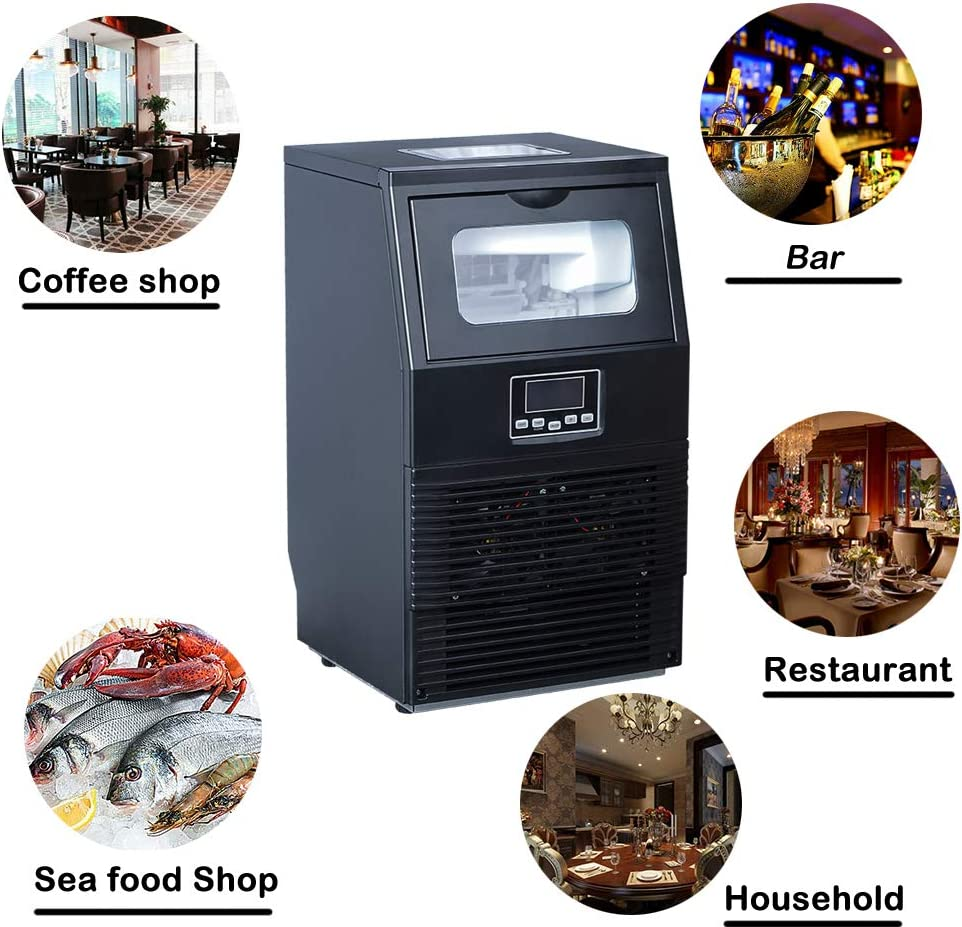88 lbs Ice in 24 h Manual /& Automatic Water Supply Black 11~20 Minutes per Cycle Smad Portable Ice Maker Machine Automatic Household Commercial Ice Maker Undercounter Storing Ice 8.8 lbs