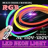 LED NEON LIGHT, IEKOV™ AC 110-120V Flexible RGB LED Neon Light Strip, 60 LEDs/M, Waterproof, Multi Color Changing 5050 SMD LED Rope Light + Remote Controller for Home Decoration (16.4ft/5m)