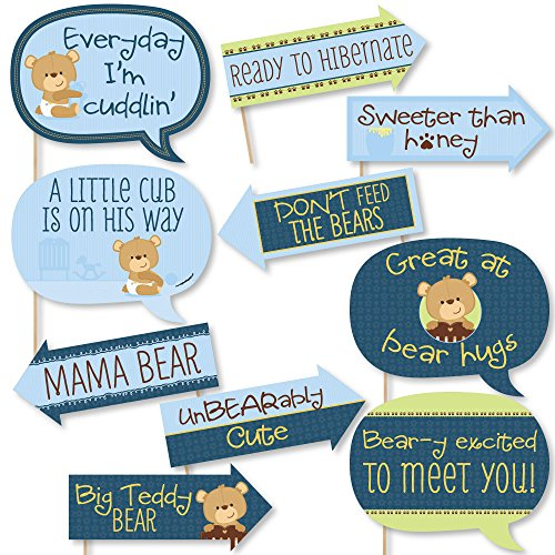 Funny Baby Boy Teddy Bear - Baby Shower Photo Booth Props Kit - 10 Piece -