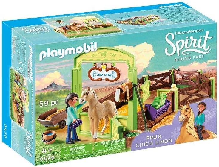 PLAYMOBIL DreamWorks Spirit Establo Pru y Chica Linda, a Partir de 4 Años (9479)
