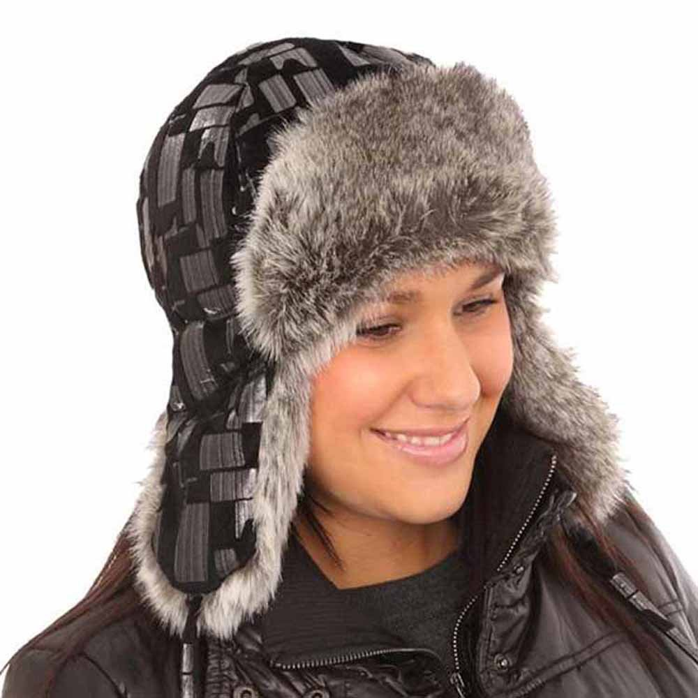 Socks Uwear New Womens -Silver Pattern Trapper Warm Winter Thermal Hat AW114 57cm LHAT AW114 trapper 57cm