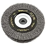 Forney 72896 Wire Bench Wheel Brush, Industrial Pro Crimped with 1/2-Inch Through 2-Inch Multi Arbor, 6-Inch-by-.012-Inch