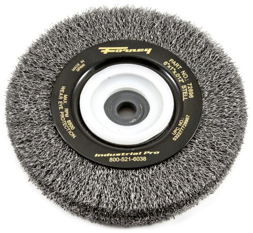 Forney Arbor - Forney 72896 Wire Bench Wheel Brush, Industrial Pro Crimped with 1/2-Inch Through 2-Inch Multi Arbor, 6-Inch-by-.012-Inch