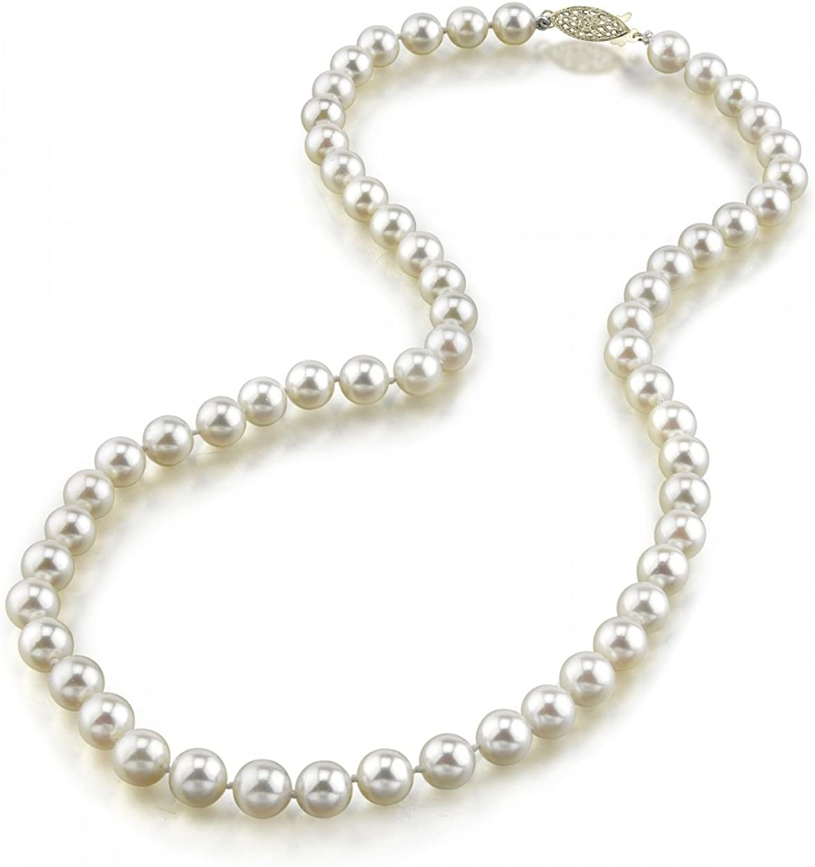 THE PEARL SOURCE 14K Gold 6.5-7.0mm Round Genuine White Japanese Akoya Saltwater Cultured Pearl Necklace in 20 Matinee Length for Women