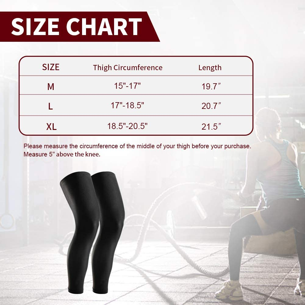 1 Pair GonHui Full Leg Sleeves UV Protection Leg Compression Sleeves for men and women