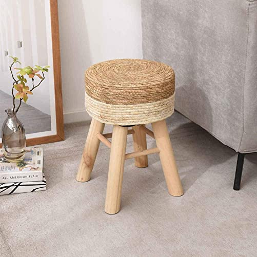 Wimarsbon Solid Wood Footstool with Hand Weaving Seagrass, Shoes Changing Stool, Tea Table Low Bench -Natural White