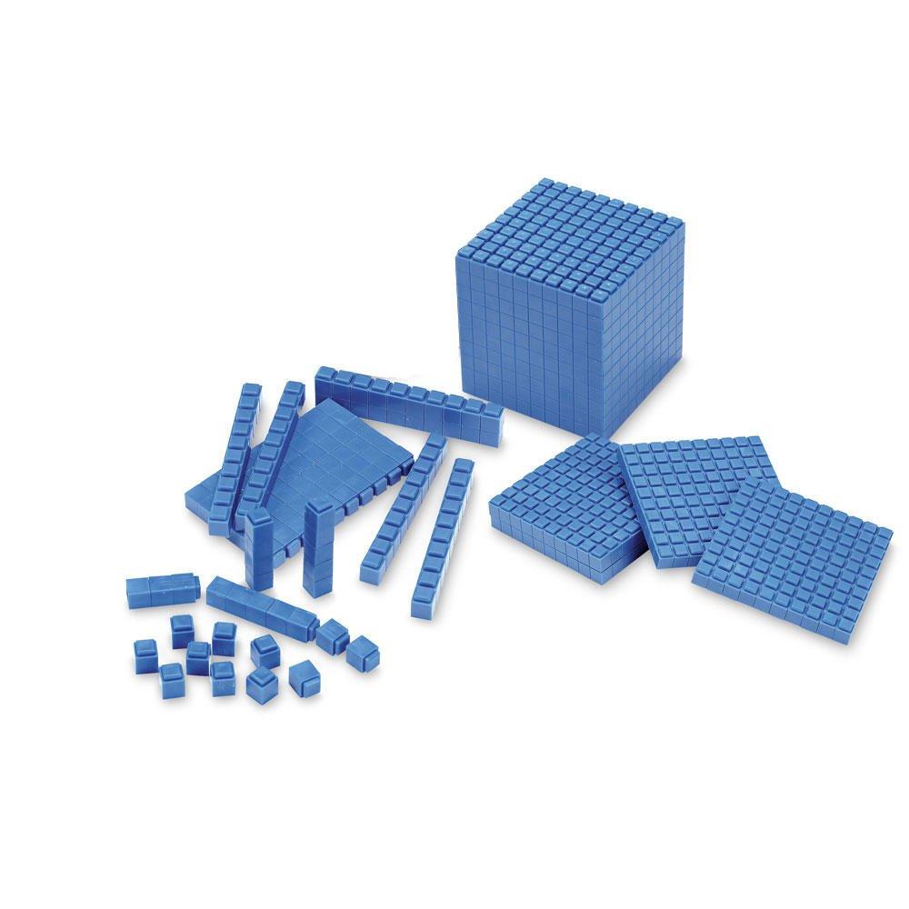 ETA hand2mind Blue Interlocking Base Ten Blocks, Math Manipulative Starter Kit (Set of 161)