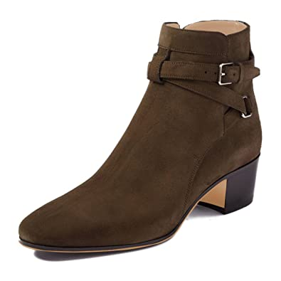Women Closed Toe Block Mid Heel Ankle Buckled Boots Faux Suede Comfortable Walking Shoes Size 4-15 US