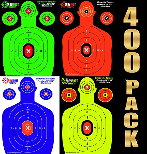 EasyShot Bulk Targets 400-Pack Silhouette Shooting Targets - 100 Sheets of Each Color: Fluorescent Orange, Neon Green, Electric Blue and Neon Yellow. Easy to See Your Shots, Heavy-Duty Paper Sheets.