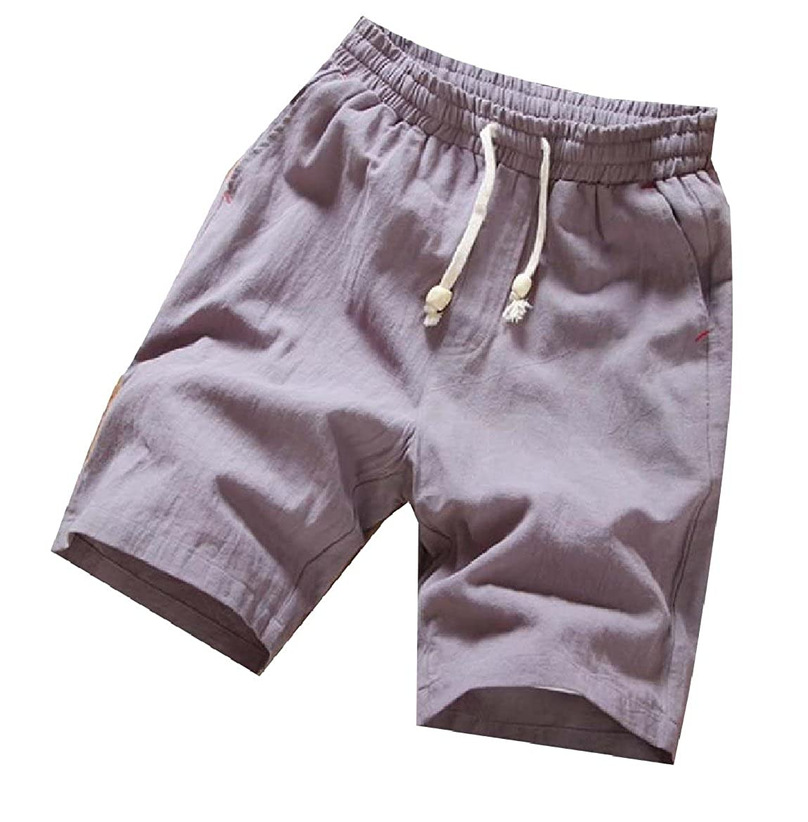 Tootless-Men Slim Fitted Linen Beachwear Pocket Pure Color Shorts