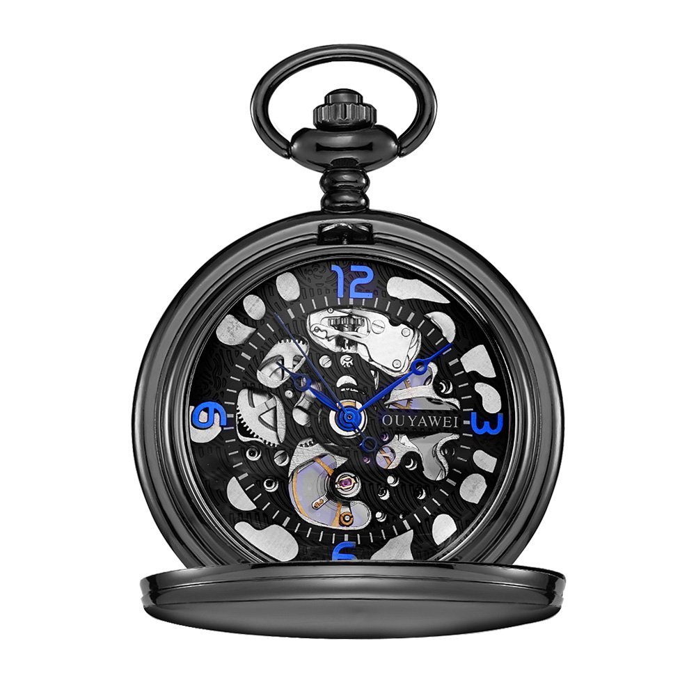 OUYAWEI Pocket Watch Stainless Steel Case Skeleton Dial Blue Hands Mechanical Hand-wind Unisex Fob Watch