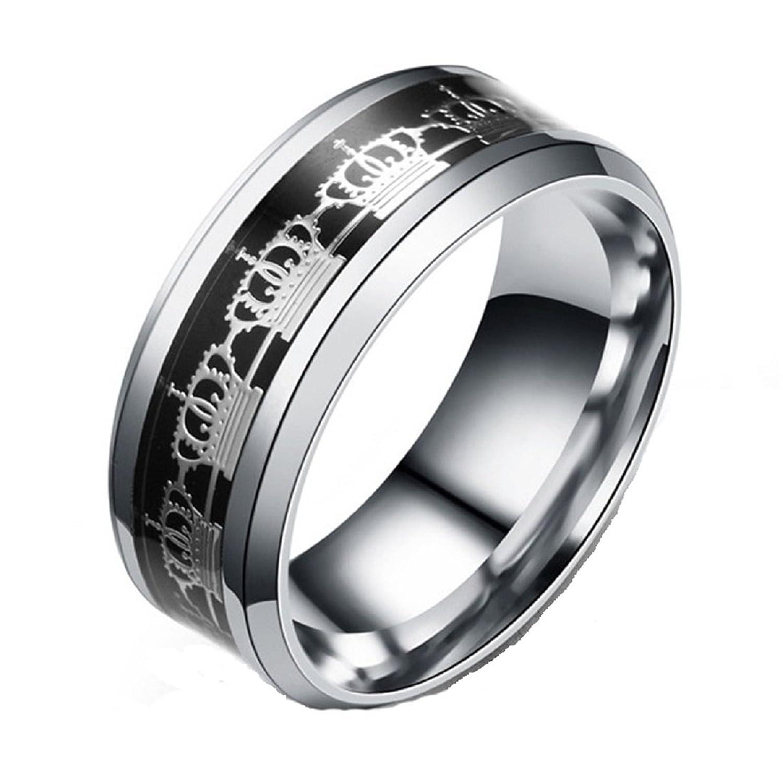 8mm Black Carbon Fiber Titanium Stainless Steel King Crown Men