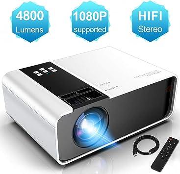Mini Proyector 1080P Full HD Soporte, WayGoal Proyector Portátil 4800 Lúmenes, Proyector LED de 50000 Horas, Pantalla de 200