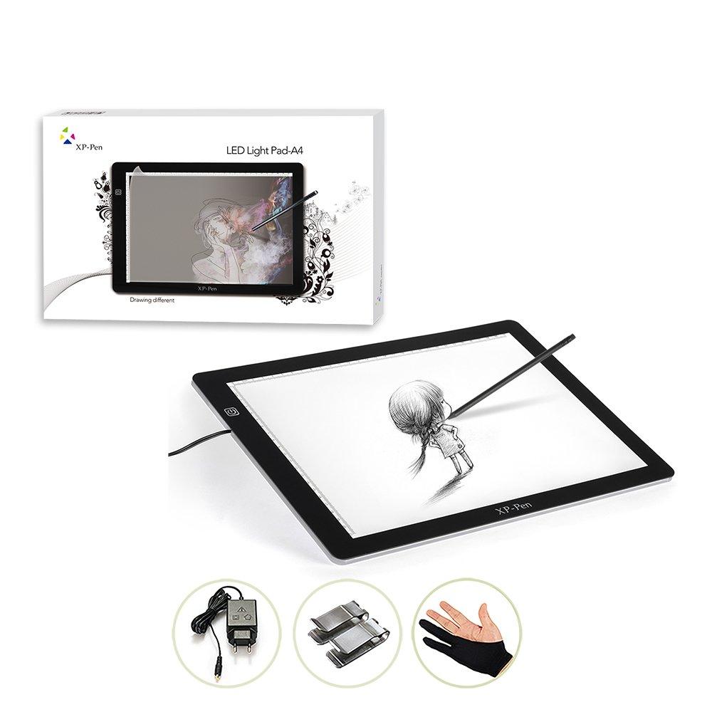 'xp-pen 18Tablet luminosa A4LED rétro-élairé Pad luminosa Tablet disegno copia con pinza di carta e guanto artista anti-fouling FRCOA4