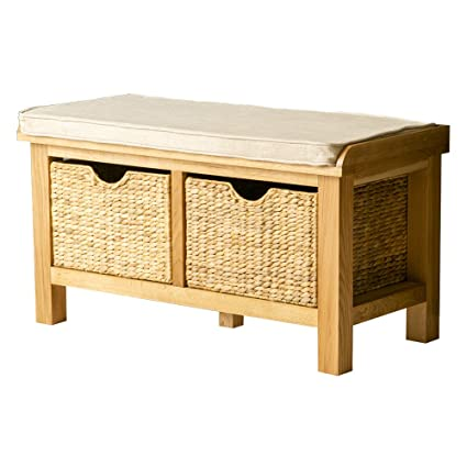 Pleasing Roseland Furniture Ltd London Oak Hallway Bench With Baskets Padded Bench Storage Ncnpc Chair Design For Home Ncnpcorg