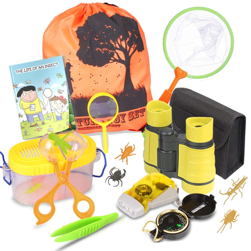 Outdoor Explorer Kit & Bug Catcher Kit with Binoculars, Flashlight, Compass, Magnifying Glass, Butterfly Net and Backpack Great Kids Gift for Boys & Girls Age 3-12 Year Old Camping, Hiking, Pretend by ESSENSON