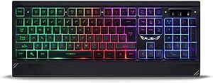 Rush RK303 Rainbow Backlight Led Letter Illuminated Gamer Backlit Membrane Mechanical Feeling Gaming Keyboard
