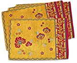 "Unique & Custom {13'' x 18'' Inch} Set Pack of 4 Rectangle ""Non-Slip Grip Texture"" Large Table Placemats Made of Polyester & Rayon w/ Bright Warm Summer Flower Southwest Design [Colorful Yellow & Red]"