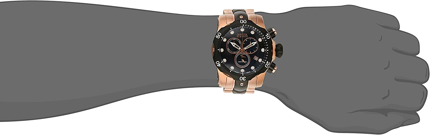 Invicta Men s 5728 Reserve Collection Black Ion-Plated and Rose Gold-Tone Chronograph Watch