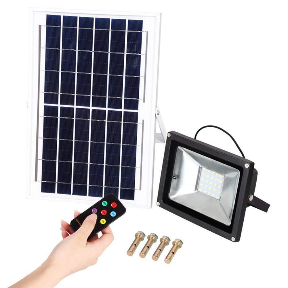 Hll-036 Solare proiettori 10W 25Leds Esterno Luce di Sicurezza 3000K Bianco Caldo con Telecomando IP65 Impermeabile per Giardino, Cortile, Strada privata