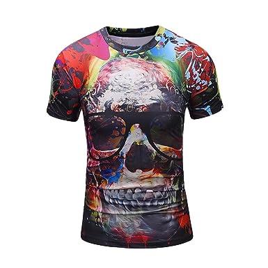97f0a807e07f Kanpola T-Shirt Herren 3D Bedruckte Schwarz Adler Totenkopf O-Neck Slim Fit  Deutschland