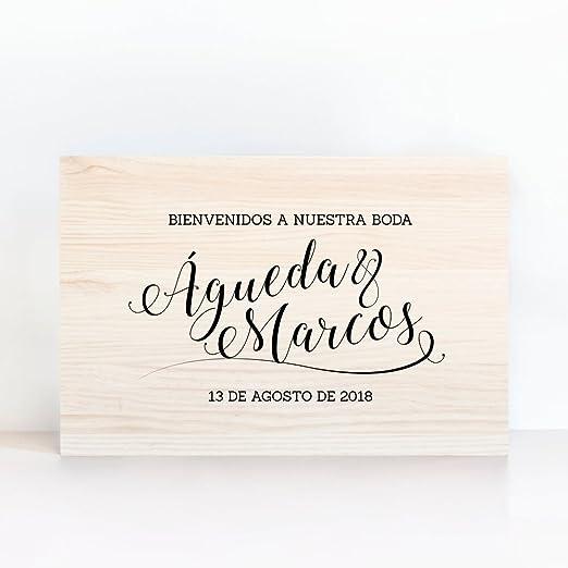 Cartel De Madera Personalizado Bienvenidos Caligrafía - Una ...