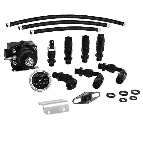 Adjustable Fuel Pressure Regulator Kit With AN6 Hose Fitting 100psi  Gauge,Black
