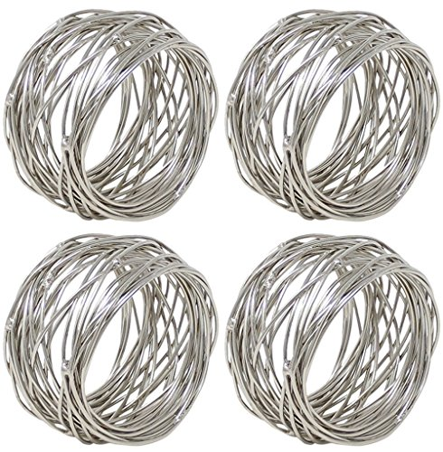 ARN Craft Silver Round Mesh Napkin Rings- Set of 4 for Weddings Dinner Parties or Every Day Use (CW- 07-4)
