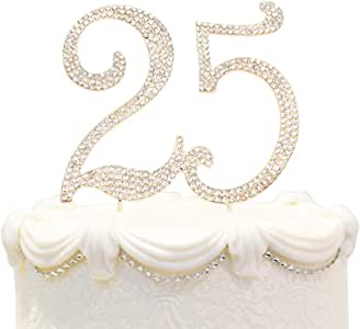 Hatcher lee Bling Crystal Sweet 25 Birthday Cake Topper - Best Keepsake | 25th Party Decorations Gold