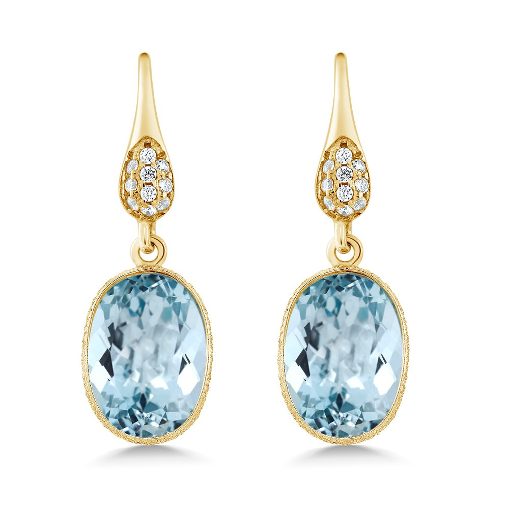 Gem Stone King 14.00 Ct Blue Topaz 14x10mm Oval Gold Plated 925 Silver Dangle Earrings