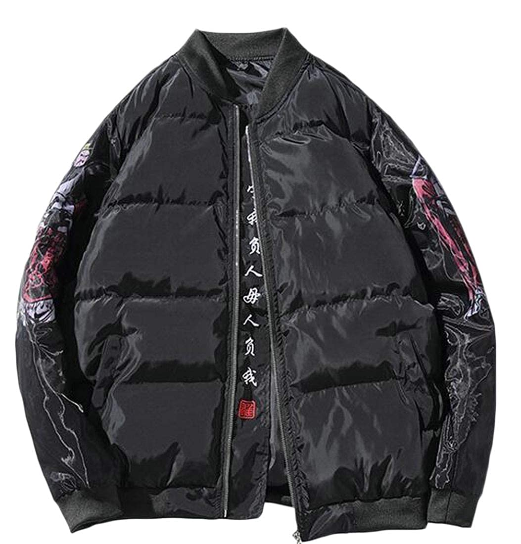 YYG Men Plus Size Thermal Zip Front Loose Chinese Style Down Coat Jacket Overcoat