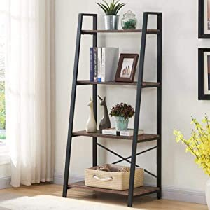Blissun 4 Tiers Ladder Shelf, Vintage Bookshelf, Storage Rack Shelf for Office, Bathroom, Living Room