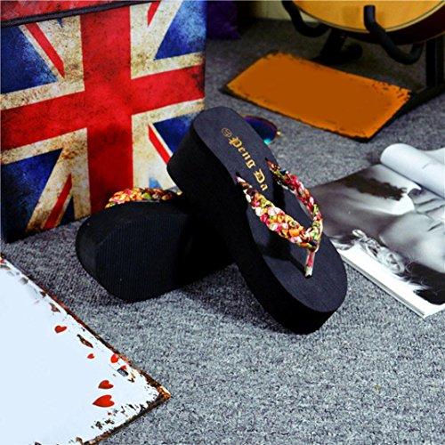 Slippers Kolylong® Frau High Heel Flip Flops Frau Keil Plattform Tangas Hausschuhe Zuhause Flip Flops Braun