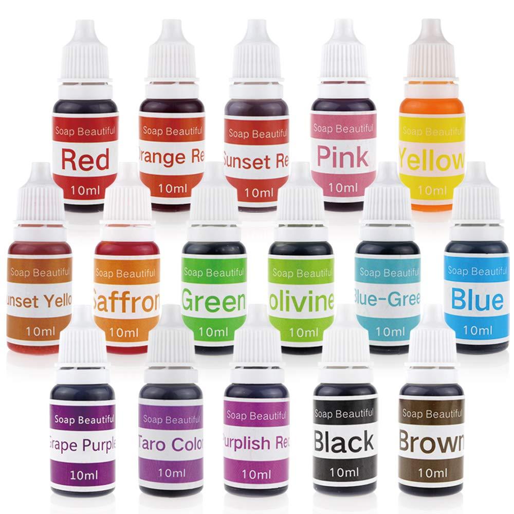 16 Colors Liquid Soap Dye Kit Food Grade Skin Safe, Vegan, Gluten-Free - Liquid Bath Bombs Colorant Set with Bonus Best Soap Making Supplies NB 4336900723